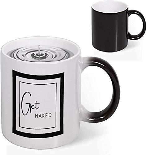 Heat Reveal Taza de café de cerámica de 11 oz Get Naked Funny Word Art Taza de novedad que cambia de color Taza de decoloración creativa Taza de arte divertido Navidad