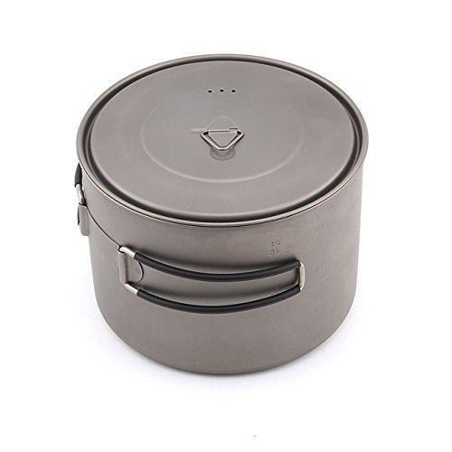 TOAKS Outdoor Ultralight - Batería de cocina de titanio plegable con asa portátil, 1100 ml, 1300 ml, 1350 ml, 1600 ml, ., 1600 ml.