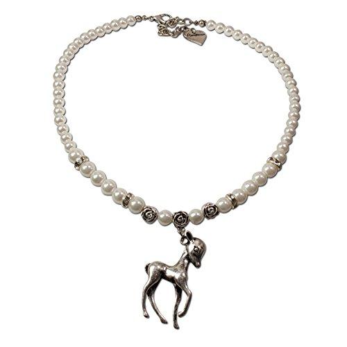 Alpenflüstern Perlen-Trachtenkette Bambi-Rehkitz - Damen-Trachtenschmuck Dirndlkette Creme-weiß DHK101