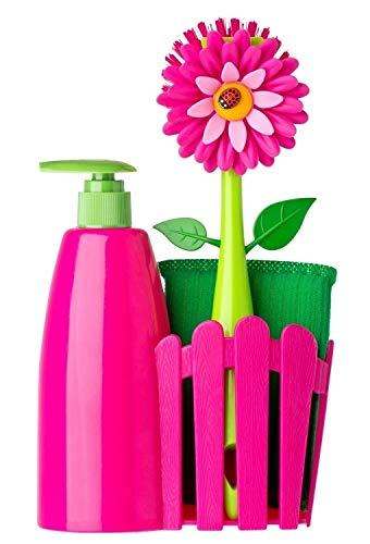 VIGAR Flower Power–Set da lavello con dispenser, Magenta e verde, 14x 7x 26.5 cm