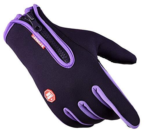 AmDxD Damen Wärme Winterhandschuhe Winddicht Reithandschuhe Fahrradhandschuhe mit Reißverschluss Skihandschuh Lila Handschuhe Größe Klein