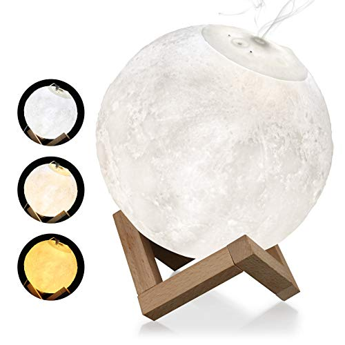 Laelr Moon Light Humidifier, 3D Printing 3 Colors Moon Lamp with Stand, Cool Mist Humidifier Touch Control Ajustable Brightness USB Charging Decorative Light Up Moon Light Humidifier for Bedrooms