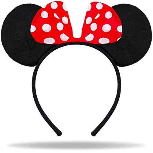 Hatstar Haarreifen mit Maus Ohren | Mouse Ears in schwarz mit roter Schleife und weißen Punkten für Kinder und Erwachsene (schwarz/rot)