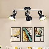 Depuley Deckenlampe Wohnzimmer Retro 350° einstellbar, Vintage Deckenspot Wandspot mit E14 Fassung(Glühbirne nicht ink.) Schwenkbar, 3000k Warmweiß für Schlafzimmer Esszimmer Büro Küche