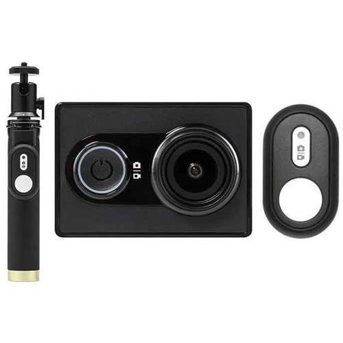 YI Action Camera with Selfie Stick & Bluetooth Remote (US Edition) Black