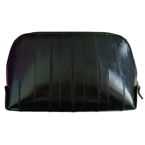 Genuine Eel Skin Leather Zip Around Cosmetic Makeup Pouch (Black)