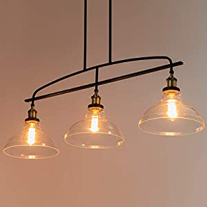 Lanros Vintage Rustic 3-Light Kitchen Island Lighting with Clear Glass Shades, 4 Cuts Adjustable Hanging Metal Rod Farmhouse Chandelier for Dinning Room, Matte Black & Vintage Brass