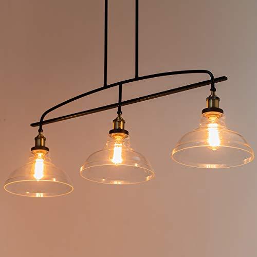 Lanros Vintage Rustic 3-Light Kitchen Island Lighting with...