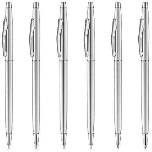 Unibene Slim Metallic Retractable Ballpoint Pens - Silver, Nice Gift for Business Office Students Teachers Wedding Christmas, Medium Point(1 mm) 6 Pack-Black ink