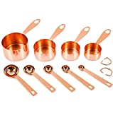 Copper-plated Measuring Cups and Spoons, Set of 9: EXTRA STURDY Top-Quality Stainless Steel. Satin + Mirror Polish Copper Finish. US + Metric Measurements. Kitchen Gift Under 30 Dollar. By COPPER GEMZ
