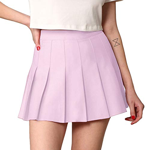 MBJ WB2344 Women Girls Plaid High Waist Japan School Uniform Pleated Skater Tennis Skirt M Lavender
