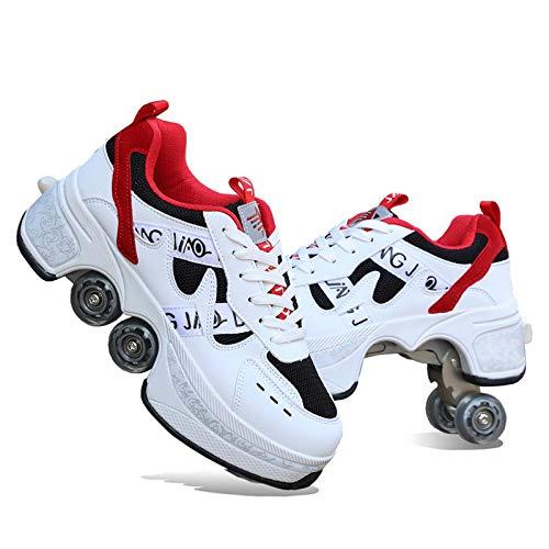 GWYX Patines De Deformación 2 En 1 Zapatos para Caminar Automáticos, Rueda De Deformación Invisible De Doble Fila, Impermeable Y Antideslizante,White-39