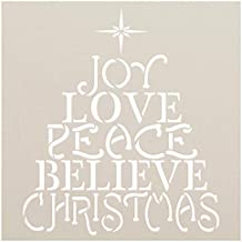 Love Joy Peace Stencil with Star by StudioR12   Christmas Fruit of The Spirit Believe   Reusable Mylar Template   DIY Holiday Decor & Gift   Paint Wood Signs   Home Crafting   Select Size (9