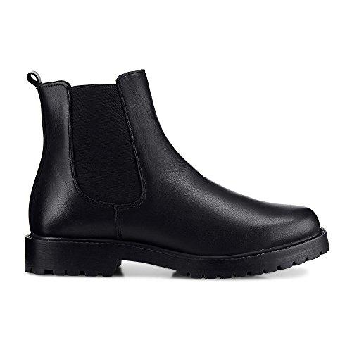 Cox Damen Chelsea-Boots aus Leder, Stiefeletten in Schwarz mit elastischem Stretch-Einsatz Schwarz Leder 39