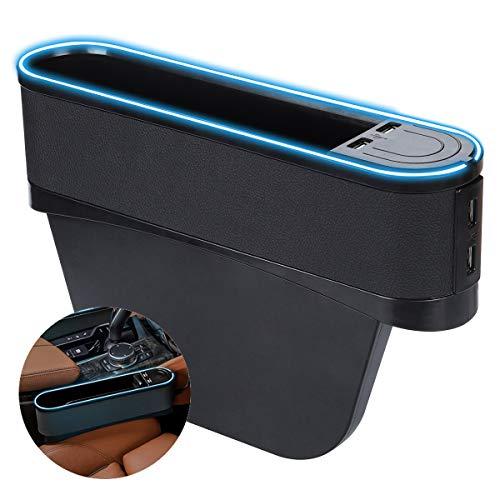 Mieziba Car Seat Gap Organizer with LED Lights, 4 USB Charging, PU Leather Front Driver Seat Gap Filler for Cellphones, Keys, Cards, Wallets, Sunglasses, etc,Black/Blue