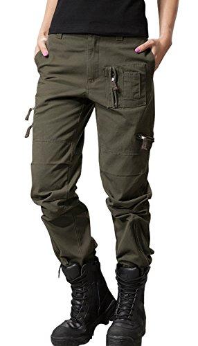 chouyatou Women's Military Straight Fit Stylish Combat Cargo Slacks Pants (Small, Army)