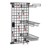 Mythinglogic Sports Equipment Storage System, Wall Mount Garage Storage Shelves for Sports Gear and Bike, Ball Storage Racks with 6 Hanging Hooks,Garage Storage Organizer (Black)