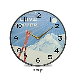 YOLIYANA Non-Ticking Acrylic Decorative Round Wall Clock Retro Poster Design Skis and I Love Winter Slogan Outdoor Activities Vintage Rustic Country Tuscan Style Home Decor Round Wall Clock 11.9