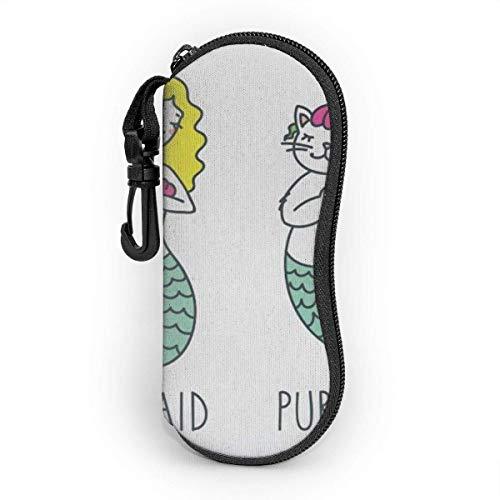 Funda de Gafas Burbuja linda de la decoración de la concha marina de la sirena del gato Ultra Ligero Neopreno Suaves viaje Estuche para Gafas de caso Bolsa con Clip de Cinturón