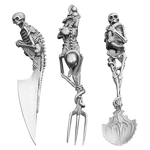 ZQD Conjuntos de Cubiertos esqueléticos Kits de vajilla de Acero Inoxidable de Cabeza de Skull, 3 PCS Cuchillo de Cuchara de Tenedor de Esqueleto de Conjunto de Cubiertos para la decoración