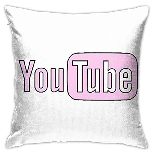 Ahdyr Funda de Almohada de Microfibra Ultra Suave, Fundas de cojín de Youtube Rosa, cojín Decorativo para sofá, Dormitorio, Funda de Almohada de 18 x 18 Pulgadas