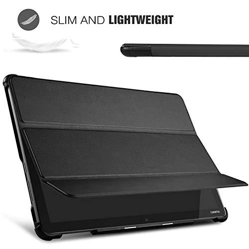 IVSO Hülle für Huawei MediaPad M5 Lite 10, Ultra Schlank Slim Schutzhülle Hochwertiges PU mit Standfunktion Perfekt Geeignet für Huawei MediaPad M5 Lite 10 10.1 Zoll 2018 Modell, Schwarz - 4