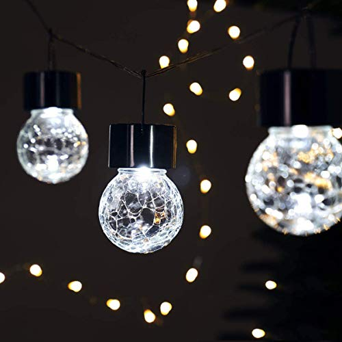 GIGALUMI Hanging Solar Lights, 8 Pack Solar Hanging Lights Outdoor, Crackle Glass Decorative Outdoor Globe Lights, Waterproof Solar Lanterns with Handle for Garden, Yard, Patio, Lawn