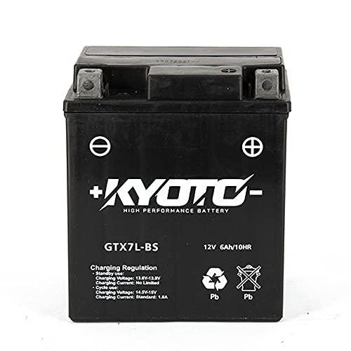 Batería moto Kyoto SLA GTX7L-BS (YTX7L-BS) AGM - Sin mantenimiento - 12 V 6 Ah - Dimensiones: 114 x 71 x 131 mm compatible con SUZUKI GZ250 Marauder 250 1999-2010