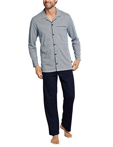 Schiesser Herren Pyjama Lang Zweiteiliger Schlafanzug, Blau (Dunkelblau 803), XX-Large (Herstellergröße: 110)