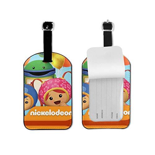 Equipo Umizoomi etiquetas de equipaje de cuero personalizado maleta Tag Set etiquetas de identificación de equipaje accesorios de viaje microfibra cuero PU 2.7 x 4.3 pulgadas