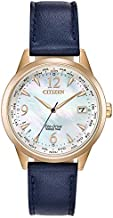 Citizen Women's World Time Perpetual Calendar Stainless Steel Quartz Watch with Leather Calfskin Strap, Blue, 17 (Model: FC8003-06D)