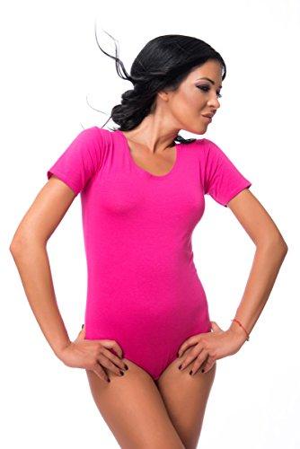 Evoni Damenbody | Overall Bodysuit mit Rundhals für Frauen | Kurzarm-Body in verschiedenen Farben mit Verschluss | hochwertige Nachtwäsche mit optimaler Passform | sportlicher Damen-Body(Large, Pink)
