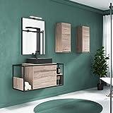 THERMIKET Mueble de baño suspendido con Lavabo Blanco - 1 cajón con Estante en Lado - El Mueble va...