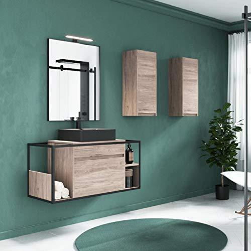 THERMIKET Mueble de baño suspendido con Lavabo Blanco - 1 cajón con Estante en Lado - El Mueble va montado - Modelo KATUS (100 cm, Color Nature)