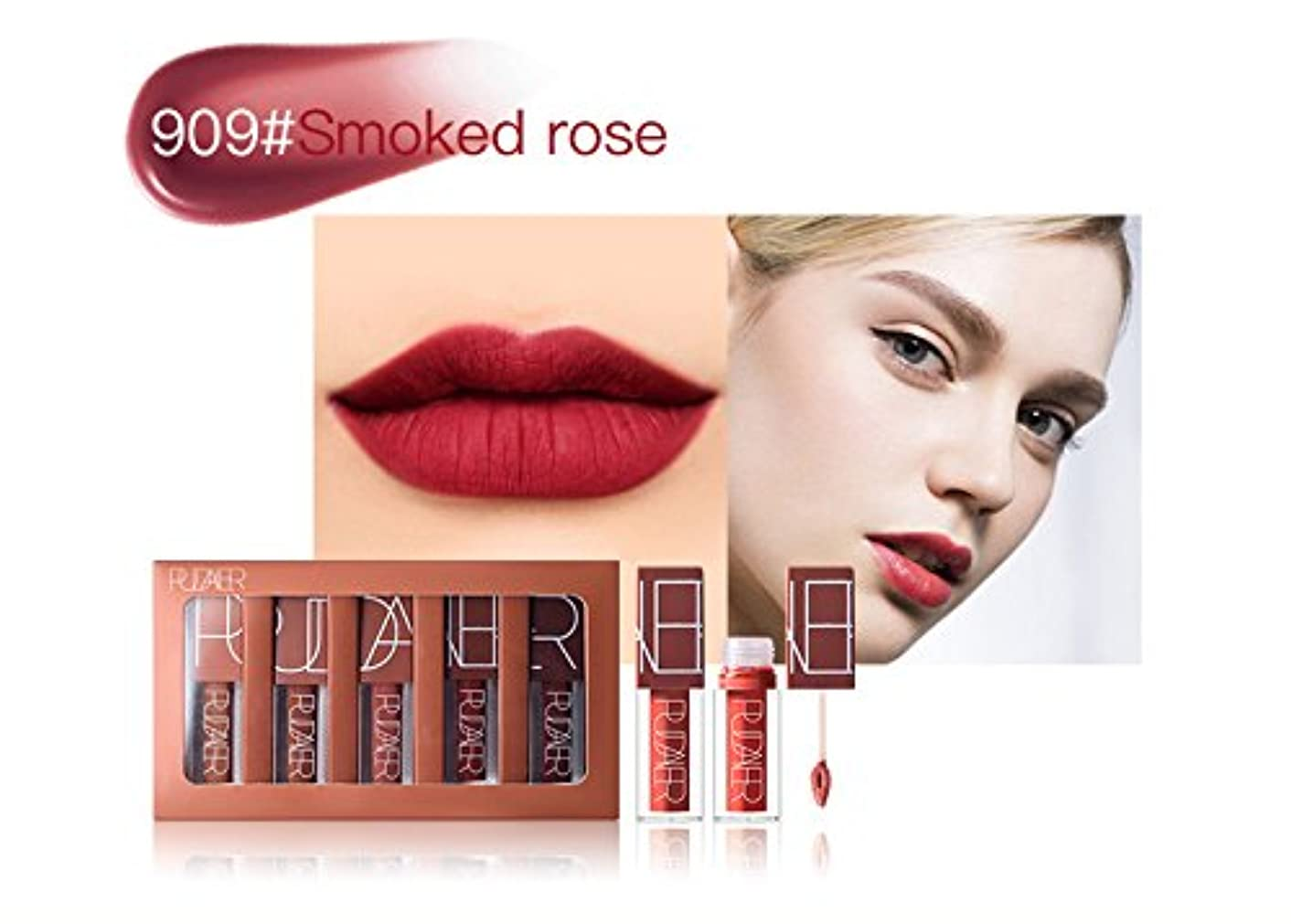 No #909 Hot Brand Long Lasting Velvet Lips Tint Liquid Lipstick Matte Beauty Cosmetics Sexy Nude Pigment Matte Lip Gloss Tattoo Makeup