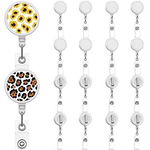 18 Pieces Sublimation Retractable Badge Holder Blank Sublimation Tag Holder DIY Retractable Heat Transfer ID Badge Holder with Clip for ID Card Holders, Keys, Name Tag (White)