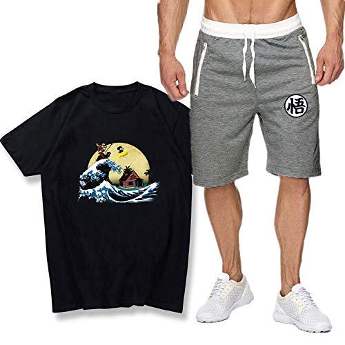 GIRLXV Goku Sudaderas con Capucha Forro de Sherpa Traje Negro de Manga Corta Hombres y Mujeres Moda Casual Camiseta Traje de Pantalones de 5 Puntos M