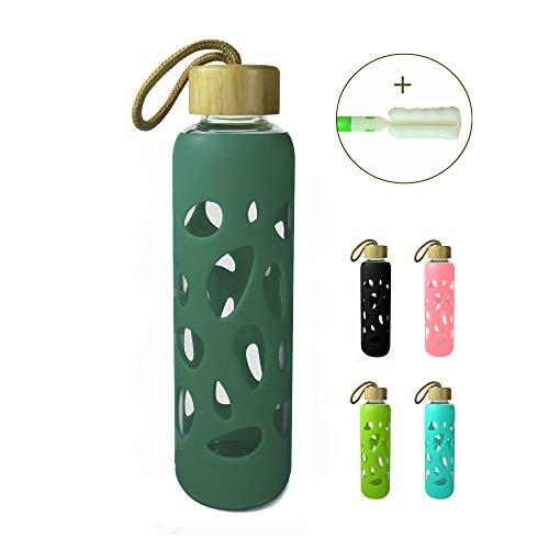 Wenburg Trinkflasche/Glasflasche mit Bambus Deckel 550 ml, Silikonhülle. Sportflasche/Wasserflasche aus Glas. Für Unterwegs (Minttürkis, 0,55 l)