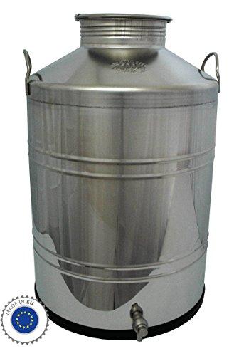 Fischer Kellereitechnik: Preiswerte 100 Liter Edelstahl-Kanne, Getränkefass / Transport-Kanne inkl. Auslauf-Hahn, für flüssige Lebensmittel wie Milch, Wein, Essig, Öl, Spirituosen, Most, Saft, Soße etc. - Made in EU -