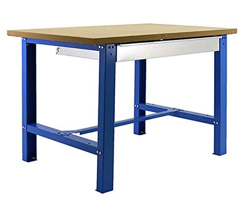 Banco de trabajo industrial con cajon BT6 Simonwork Plywood Azul/Madera Simonrack 865x1500x750 mms - banco de trabajo resistente 800 Kgs de capacidad por estante