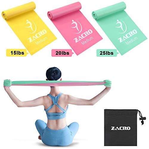 Zacro Widerstandsband Set, 3 Fitnessbänder aus 100% Naturlatex für Krafttraining, Yoga, Pilates, Fitness, Heimtraining, 1.8M