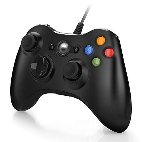 Wired Controller for Xbox 360, USB PC Game Controller Gamepad Joystick for Microsoft Xbox 360, PC Windows 7,8,10 (Black)
