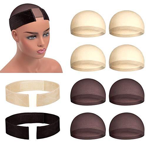 Meetory 2 Stücke Haarnetz Haarband und 8 Stücke Nylon Perückenkappe für Perücke, Stirnband Wig Grip Verstellbar Bequem und weich Perückenband rutschfest (Beige und Dunkelbraun)