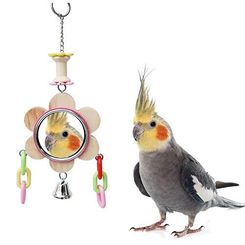 Funihut speelgoed van natuurlijk hout voor papegaaien, vogelspeelgoed voor kooien, hangschommel met spiegel, cacao-speelplaats, ladder voor papegaaien, zonnebad, golfstok