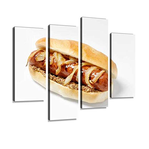 YKing1 hot Dog with Grilled Onions and Whole Grain Mustard Sausage Stock Wall Art Painting Pictures Print On Canvas Stretched & Framed Artworks Modern Hanging Posters Home Decor 4PANEL