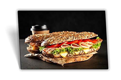 Medianlux Leinwand-Bild Keilrahmen-Bild Sandwich Fast Food Essen Salat Fleisch-Wurst Schinken Toast-Brot, 80 x 40cm (BxH)