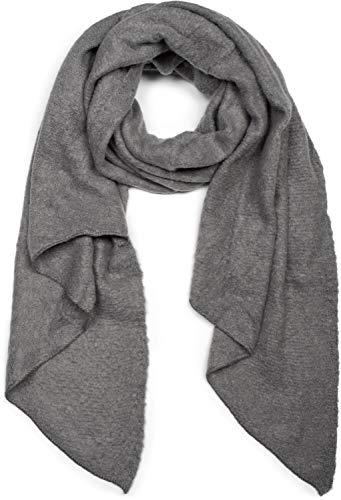 styleBREAKER Damen weicher unifarbener Web Schal in asymmetrischer Form, Winter, Stola 01017118, Farbe:Grau