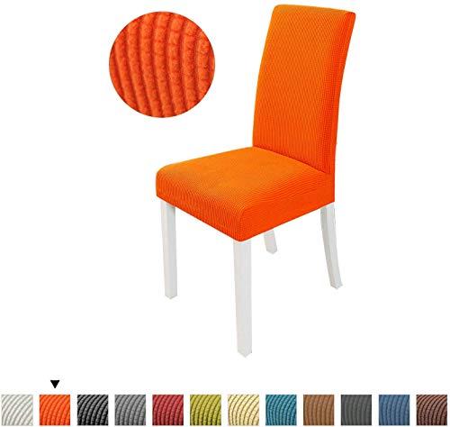 ZHTY Stuhlhussen Stretch Esszimmerstuhlhussen Spandex Stuhlhussen Orange 6er Set