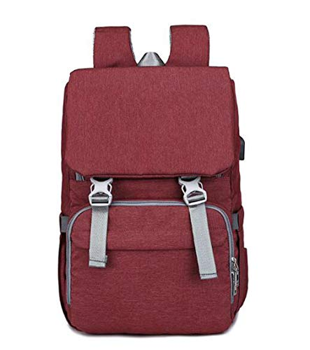 Etyybb Bolsa cambiador para bebé Mochila Impermeable Bolsa de pañales para bebé de viaje, elegante Mochila para pañales de gran capacidad con cambiador USB Port-Red wine_L