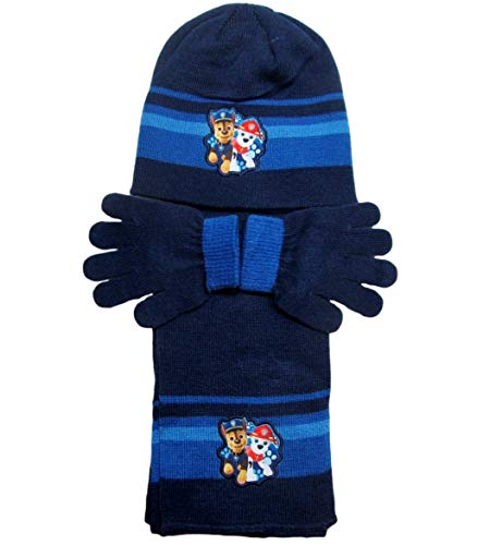 Paw Patrol Mütze Handschuhe und Schal 4-7 Jahre (Blau, 4-7 Jahre)
